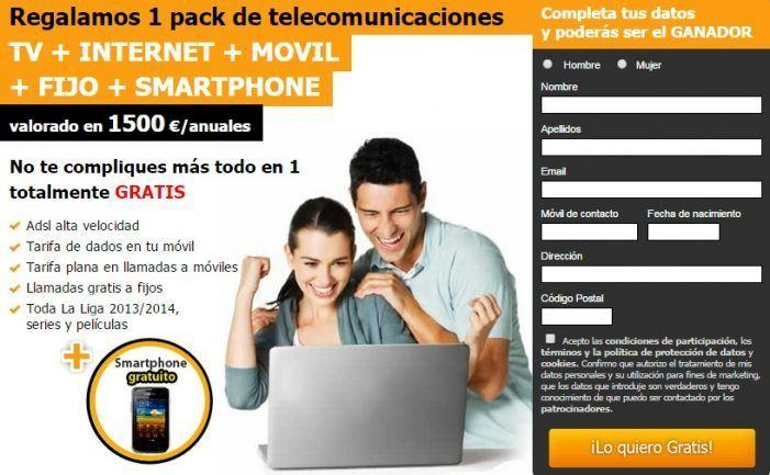 Regalamos 1 pack de telecomunicaciones TV + INTERNET + MOVIL + FIJO + SMARTPHONE