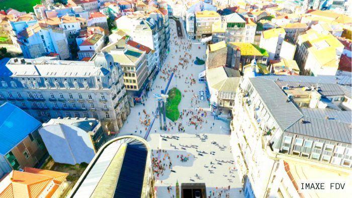 A páxina HablArq Vigo maniféstase sobre o proxecto da peonalización da Porta de Sol