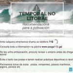 A Xunta alerta dun temporal costeiro de nivel laranxa en todo o litoral galego a partir de mañá
