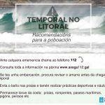 A Xunta alerta dun temporal de nivel laranxa que dará comezo maña no litoral da provincia da Coruña