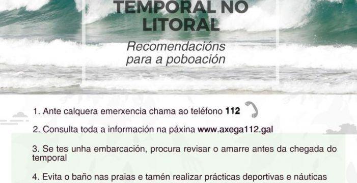 A Xunta alerta dun temporal de nivel laranxa que dará comezo mañá no litoral da provincia da Coruña