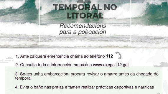 A Xunta activa esta tarde a alerta laranxa por temporal costeiro na Coruña