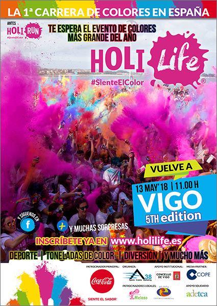 La carrera de colores Holi Life vuelve a Vigo el 13 de mayo con su quinta edición