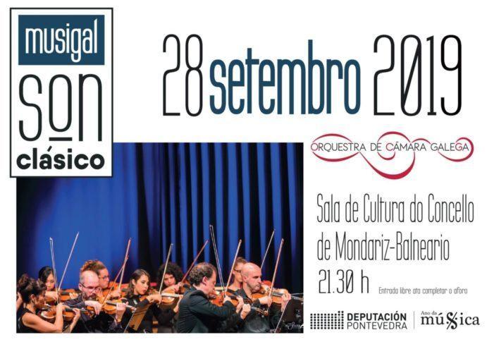"""O """"Son clásico"""" da Orquestra de Cámara Galega chega este sábado a Mondariz-Balneario da man do programa da Deputación de Pontevedra Musigal 2019"""