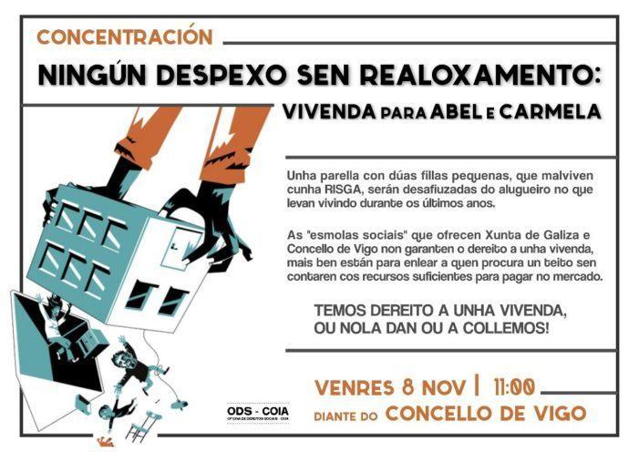 """A ODS-Coia convoca una concentración baixo o lema """"Ningún despexo sen realoxamento. Vivenda para Abel e Carmela"""""""
