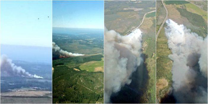 Activo un incendio forestal no concello coruñés de Vimianzo, parroquia de Berdoias