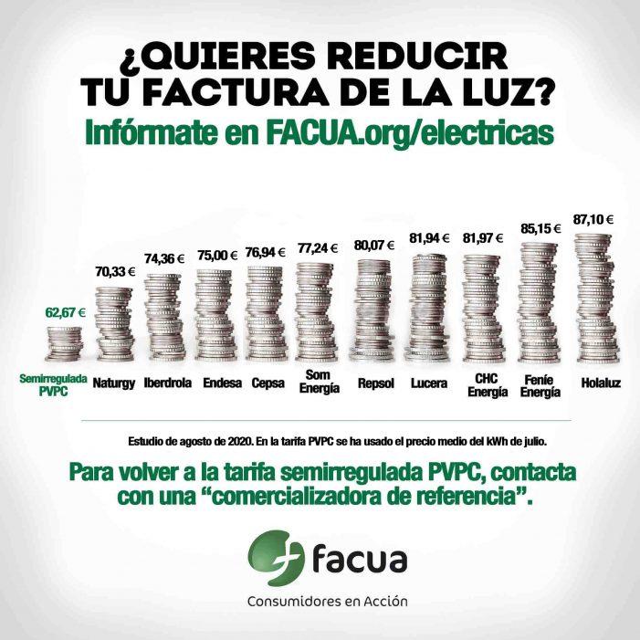 Tarifas eléctricas: FACUA detecta diferencias al alza de hasta el 60% en el mercado libre frente al PVPC