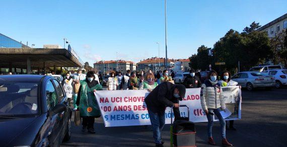 Novena semana de folga e mobilizacións por unha UCI de Adultos digna no Hospital Clínico