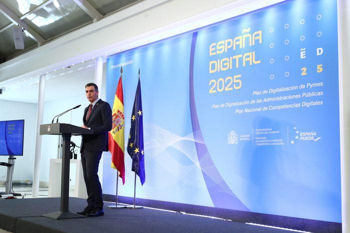 Sánchez anuncia la inversión de 11.000 millones para impulsar la digitalización de pymes y Administración Pública y reforzar las competencias digitales