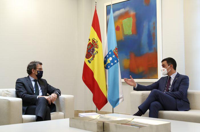 Feijóo amosa o seu optimismo ante a receptividade de Pedro Sánchez aos proxectos galegos que optan aos fondos europeos Next Generation
