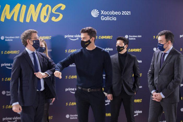 """Feijóo refírese á serie '3 Caminos', a primeira serie internacional sobre o Camiño de Santiago e a gran produción audiovisual do Xacobeo 2021-2022, como """"a mellor carta de presentación de Galicia"""""""