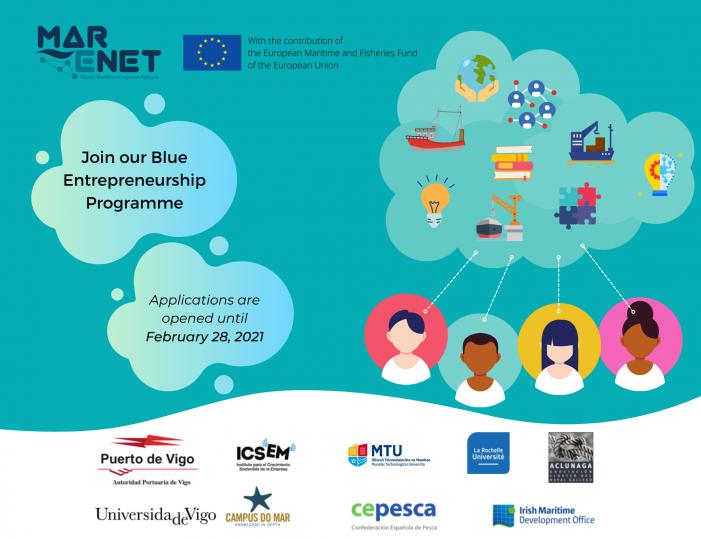 O proxecto MarENet lanza un programa de emprendemento para fomentar ideas de negocio innovadoras no sector da Economía Azul