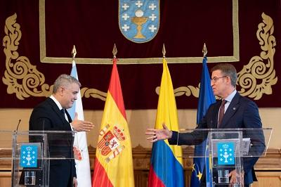 Feijóo destaca las oportunidades mutuas de Galicia y Colombia en sectores como el pesquero, el naval, el contract, el TIC y el forestal